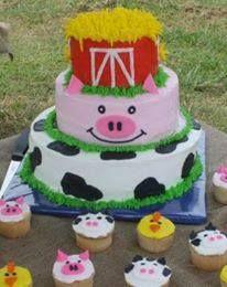 Barnyard cake and cupcakes