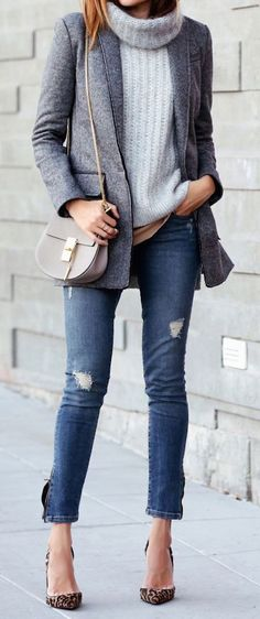 Fall layering includes a sweater, coat, jeans, heels and bag for the best fall outfit ideas. Via Fashionue