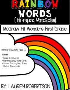 This system correlates with McGraw Hills Wonders first grade high frequency words. I created this system to have a means to organize the high frequency words included in the Wonders program. I have included everything you will need in order to implement this system: a scope and sequence of the word lists for all of the units, high frequency word cards for a word wall/games/etc., student data tracking sheets, assessments for all of the units.