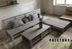 Sedačky a stolky z palet v šedé lazuře Bench, Storage, Furniture, Garden, Home Decor, Pallets, Purse Storage, Garten, Decoration Home