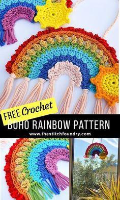Free boho crochet rainbow pattern by My Crochet Makes on The Stitch Foundry, in UK and US terms. Beautiful and unique crochet rainbow of hope for you to make and hang in your window. Crochet Home, Crochet Crafts, Free Crochet, Knit Crochet, Crotchet, Sewing Crafts, Easy Knitting Projects, Crochet Projects, Knitting Beginners
