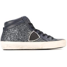 Philippe Model glitter effect hi-top sneakers (2,865 EGP) ❤ liked on Polyvore featuring shoes, sneakers, blue, blue leather sneakers, leather shoes, leather high tops, high top shoes and glitter shoes