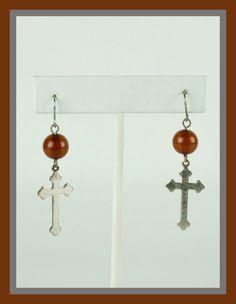 Amber Beaded Cross Earrings