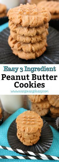 Satisfy your sweet tooth with these quick and easy 3 Ingredient Peanut Butter Cookies.