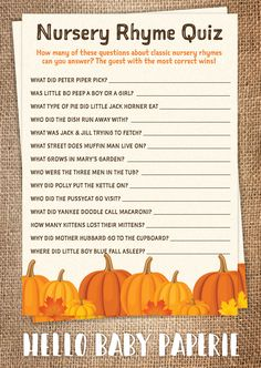 Fun Baby Shower Games, Baby Shower Fall, Fall Baby, Baby Shower Parties, Baby Shower Themes, Baby Boy Shower, Shower Ideas, Who Knows Mommy Best, Baby Sprinkle