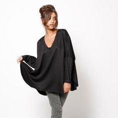 Fall women black oversize kimono tunic one size fits by AndyVeEirn, $100.00