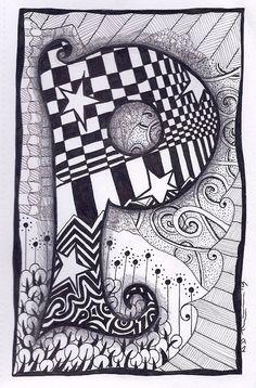 Zentangle, Letter P, Zebra Letters, name, bunting
