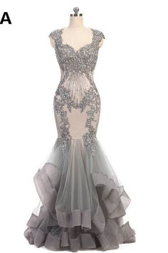Cap Sleeves Lace Beaded Grey Mermaid Long Evening Prom Dresses, Cheap Sweet 16 Dresses, 18363 The Lo Evening Dresses With Sleeves, Elegant Prom Dresses, Prom Dresses 2017, Mermaid Evening Dresses, Trendy Dresses, Sexy Dresses, Beautiful Dresses, Mermaid Style Prom Dresses, Long Sleeve Evening Gowns