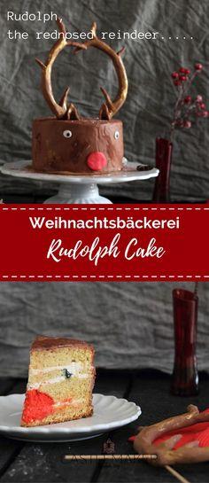 Kleine Inspiration für Weihnachten. Eine festliche Weihnachtstorte im Rudolph Design. Diese Rudolph Torte sieht außen wie innen toll aus. Gefüllt mit einer Mascarponecreme und unter dem Fondant eine Buttercreme. Wie die Fondanttorte gemacht wird, jetzt auf meinem Blog. #weihnachtstorte #rezept #rudolphcake