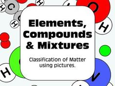 Classification of Matter - graphical organizer and visual worksheet containing images of atoms & molecules.
