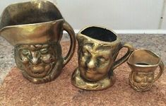 Set of 3 Graduated Toby Jugs Brass Color, Ebay
