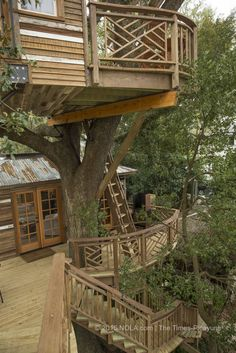 Architecture - Tree House - The multiple layers of the treehouse that Raising Cane founder and CEO Todd Graves and his wife, Gwen, had built for them in Baton Rouge. Treehouse Builders, Building A Treehouse, Cabana, Raising Canes, Cool Tree Houses, Tree House Designs, Tree Tops, In The Tree, Construction