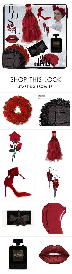 """Date Night: Black and Red"" by annalee-c ❤ liked on Polyvore featuring National Tree Company, Urban Decay, Marchesa, Gianvito Rossi, 1928, Ann Taylor, Chanel and Lime Crime"