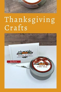 If you love making and giving Thanksgiving crafts this project is for you. Whether you need a gift for a teacher or a little 'happy' to share with a friend or neighbor these cute little gifts are simple to make and fun. Check out the tutorial at www.lisasstampstudio.com #thanksgivingcrafts #craftsforthanksgiving #papercraftideas #handmadegiftideas #easygiftstomake #lisacurcio #lisasstampstudio #celebrationtidingsstampinup Easy Gifts To Make, Fall Paper Crafts, Lisa S, Custom Ribbon, Thanksgiving Cards, Inexpensive Gift, Fall Cards, Halloween Cards, Thank You Gifts
