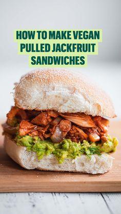 Tasty Vegetarian Recipes, Vegan Lunch Recipes, Vegetarian Lunch, Vegan Foods, Vegan Dishes, Healthy Recipes, Vegan Meals, Paleo, Jackfruit Sandwich