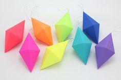 Rainbow Geometric Paper Gem Ornaments