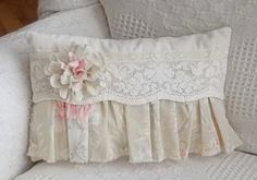 Vintage Lace Tattered Rose and Ruffles Pillow by cottagehomedecor