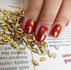 GOLD 6x3mm OVAL Metal Studs 100 Pieces Nail by DecadentDameDesigns, $1.99 #nailart #RedNails #NailStuds #Manicure #DIYnails #Studs #metalNails