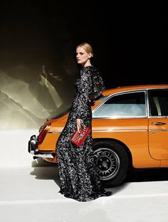 Guinevere van Seenus stars in Bally's fall-winter 2016 campaign - loving the open flared back gown
