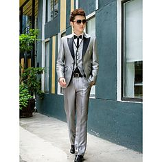 Black&Gray Solid Slim Fit Tuxedo In Polyester – USD $ 89.99