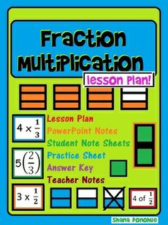 Fraction multiplication lesson plan, powerpoint, answer key. Includes scaffolded student note sheets.