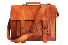 18 Inches Brown Leather Cross-body Messenger Bag/ Leather Laptop Bag for Men #Handmade #MessengerShoulderBag