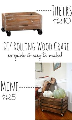 DIY rolling wood crate - so quick & easy to make! - Diy for Houses Diy Wood Projects, Home Projects, Woodworking Projects, Pallet Furniture, Furniture Projects, Diy Holz, Wood Crates, Diy Home Decor, Crate Storage