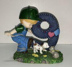 John Deere Birthday Tractor Farmer Boy Figurine 9 Years Old Puppy Kitten 106809 #JohnDeere