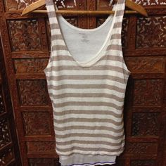 Beautiful MAJESTIC FILATURES Paris Brown Ivory Striped Scoop Neck Sleeveless Top Sz 1 -$25!