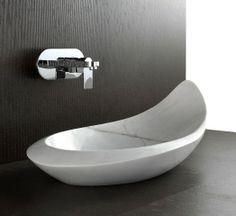 Above Counter Polished White Marble Natural Stone Designer Basin 'Komo' For Luxury Bathroom Decoration By Nova  Deko