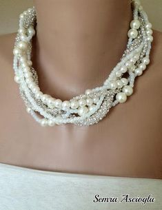 My Bride   Weddings  Pearl Necklace by HMbySemraAscioglu on Etsy, $78.00