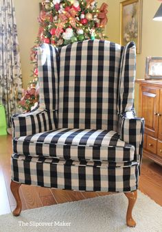 Slipcover in black and natural buffalo check for a classic wingback. natur Wing Chair Slipcover in Buffalo Check French Country Furniture, French Country Decorating, White Furniture, Furniture Design, French Country Fabric, Cheap Furniture, Furniture Decor, Modern Furniture, Home Living Room