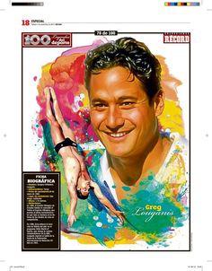 Greg Louganis 100 Leyendas del Deporte / 100 Sports Legends by Jesús R. Sánchez, via Behance
