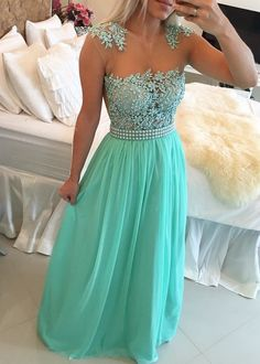 2016 Mint Green Lace Pearls Chiffon Prom Dresses Sheer Neck Capped Sleeves Long…
