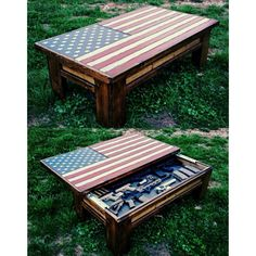 American flag coffee table/ hidden gun case