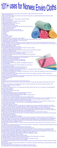 101 Uses for the Norwex Enviro Cloth - copied from customer testimonials in their own words.