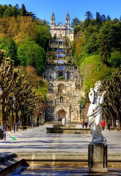 LAMEGO , PORTUGAL |  Nestled among the terraced slopes of the Douro valley port wine-growing region, and overlooked by an ornate shrine, the town of  Lamego is elegant and infused with Baroque style