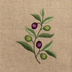 Olive Branch<br>Hand Towel - Natural Linen