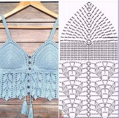 Top Tejidos A Crochet, Crochet Bra, Crochet Bikini Pattern, Crochet Collar, Crochet Shirt, Crochet Clothes, Crochet Motif Patterns, Crochet Diagram, Crochet Decoration
