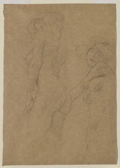 Two Female Nudes Standing, ca. Solomon R. Guggenheim Museum - Gustav Klimt - Wikipedia, the free encyclopedia Gustav Klimt, Klimt Art, Vienna Secession, Vintage Artwork, Figure Drawing, Nudes, Japanese Art, Cool Drawings, Sketches