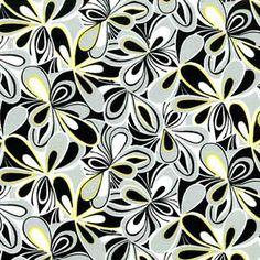 GREY FLOWER TOSS FABRIC