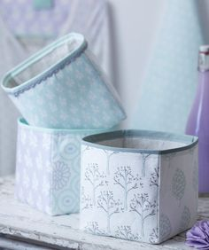 Storage boxes made from fabric - free sewing project