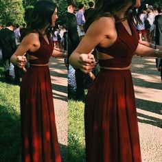 Burgundy Two Pieces Popular Long Wedding Party Bridesmaid Prom Dresses, WG737