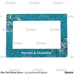Blue Teal Glitter Silver Swirls Wedding Magnetic Frame