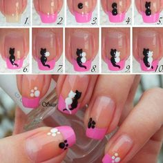 My post for today is called 15 amazing and useful nail tutorials.You will be shown many ways in which you can do your nails quickly and easily. Cat Nail Art, Cat Nails, Love Nails, Pretty Nails, Nails For Kids, Fabulous Nails, Creative Nails, Nail Tutorials, Simple Nails