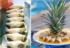 Great idea to use top of pineapple for food plate decoration. We gotta use some pineapples!