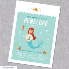 Mermaid Birthday Invitation - PRINTABLE by YourInvites on Etsy https://www.etsy.com/listing/99378559/mermaid-birthday-invitation-printable