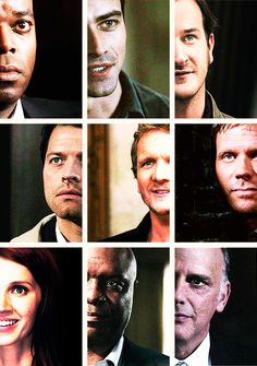 Raphael, Michael, Gabriel, Castiel, Balthazar, Lucifer, Anna, Uriel, and Zachariah. Angels of Supernatural.