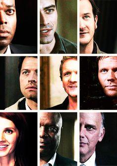 Raphael, Michael, Gabriel, Castiel, Balthazar, Lucifer, Anna, Uriel, and Zachariah. Angels of Supernatural.