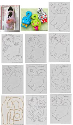 Cat dog lion hippo tiger and more cute door handle hangers. - Cat dog lion hippo tiger and more cute door handle hangers. Sewing Toys, Sewing Crafts, Sewing Projects, Fabric Toys, Fabric Crafts, Felt Patterns, Sewing Patterns, Cat Crafts, Diy And Crafts